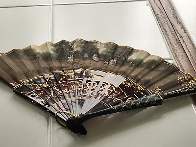 "19th Century 15"" French Fan tortoise handle Gold Scrollwork Colonial Garden ED"