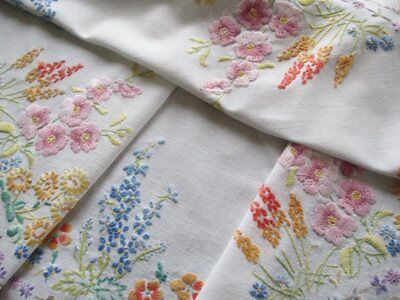 Vintage Tablecloth - Hand Embroidered English Cottage Garden Flowers