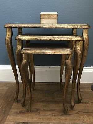 Italian Florentine 3 Wood Nesting Tables Hollywood Regency Gold Gilt Vintage