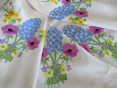 Vintage Tablecloth-Hand Embroidered English Spring Flowers-Beautiful