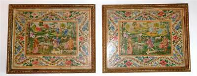 GEORGIAN TAPESTRY PICTURES PETIT POINT NEEDLEPOINT c 1820