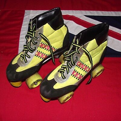 Vintage 1980s Retro Roller Boots Skates - Size 5 - Day Glow Yellow & Black Suede