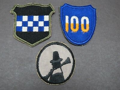 3 Original WW2 US Army Division Patches - 94th 99th 100th