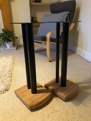 Atacama Moseco 6 Natural Bamboo / Satin Black Speaker Stands with extra plates