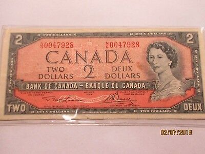 1954 CANADA , $2 - » QE II «  ~ low  SERIAL NUMBER ~