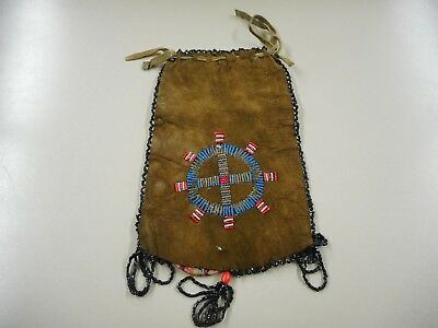 """Vintage Cheyenne Native American Beaded Double Sided  Bag. 8 1/2"""" x 5 1/2"""""""