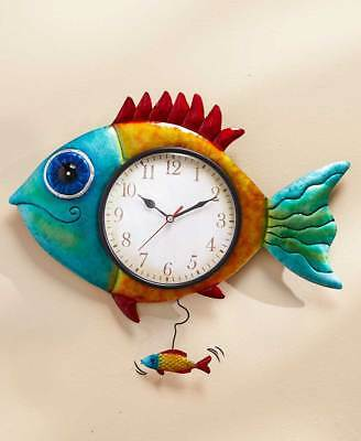 The Lakeside Collection Colorful Fish Wall Clock