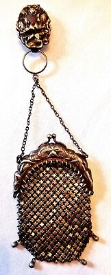 Antique Victorian Dragon Sikver Mesh Finger Ring Chatelaine Bag Coin Purse