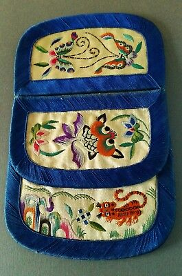 Rare Antique Chinese Hand Embroidered Silk Purse Butterfly GoldFish Tiger & Bird