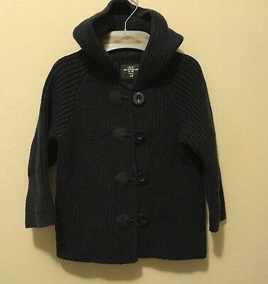 New H&M  Baby Navy KNITTED BABY Boys HOODIE  jacket  Size 4-6months