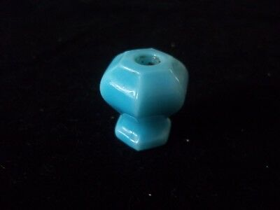 Vintage Antique Glass Or Porcelain Blue Drawer Knob / Pull