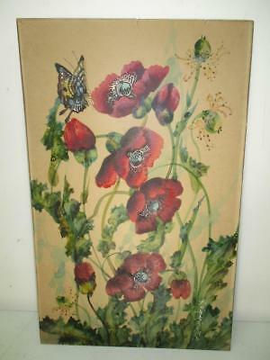 Toshio Aoki Watercolor Poppies California Japanese Artist Framed Signed