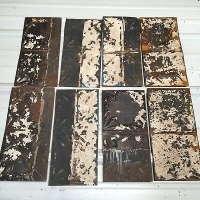 "8pc Lot of 12"" by 6"" Antique Ceiling Tin Vintage Reclaimed Salvage Art Craft"