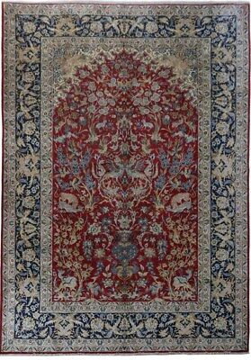 Unique 11x16 Persian Isfahan Hand-Knotted Red Rug Tree of Life