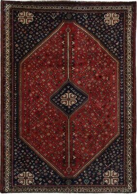 Tribal Shiraz Rug Hand-Knotted Red 7x10 Persian Wool Rug