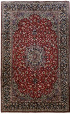 Isfahan Signed 100% genuine Hand-Knotted Red 10x16 Persian Rug