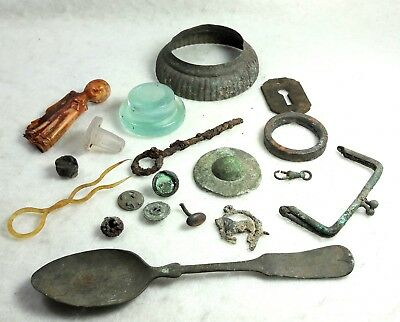 Lot of 19 Leadville Colorado DUG Artifacts antique Relics, magnetic Silver spoon