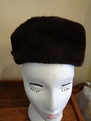 Vintage 1950's Hat Brown Faux Fur  With Bow Trim At The Back