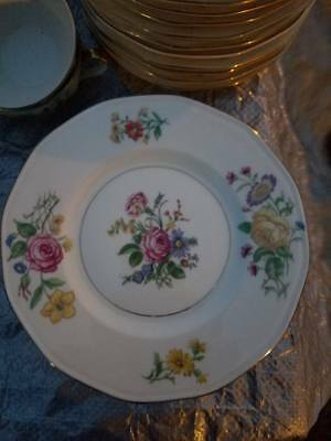 """Theodore Haviland Ny, """"glendale"""" 6 1/2 Bread & Butter   Plates(12),floral W/gold"""