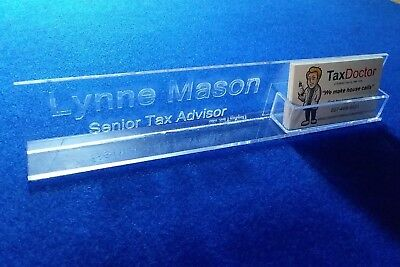 Personalized Acrylic Glass NAME PLATE BAR Desk with Business Card Holder