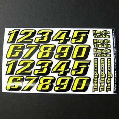 1/18th-1/16th Racing Yellow/Black Number Sticker Decal Sheet TOYZ15 Yellow/Black