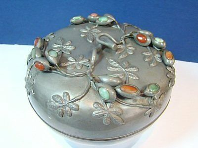 Vintage Antique Chinese Asian Pewter Paktong LARGE Tea Caddy Box Covered Bowl