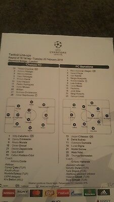 Chelsea v Barcelona champions league  teamsheet 2018