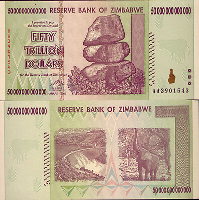 ZIMBABWE: 50 TRILLION DOLLAR NOTE - ($50 000000000000) UNC and LOW RESERVE