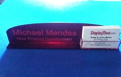 Personalized Acrylic Glass NAME PLATE BAR Desk / Business Card Holder Domed Red