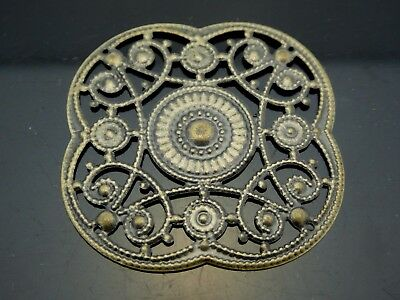 Vintage Filigree Antique Brass Bronze Tone Floral Design Component 10 Pieces
