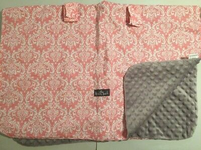 Kids N Such Car Seat Canopy Cover Pink Damask Gray Minky Dot Peekaboo Snaps EUC