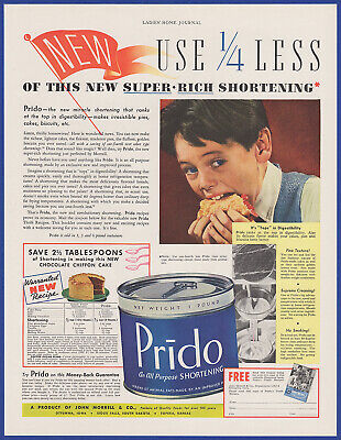Vintage 1936 PRIDO Shortening Baking Cooking Food Kitchen Decor Print Ad 30's