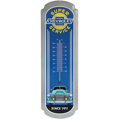 NEW Chevrolet Blue 27 Inch Embossed Tin Thermometer - Predrilled & Ready To Hang