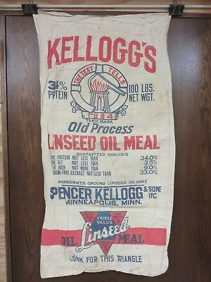 Feed Sack Kelloggs Old Process Linseed Oil Meal Minneapolis Minn Vintage Antique