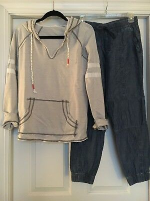 GAP Tencel Utility Joggers and Hem & Thread Football Hoodie Women's Outfit
