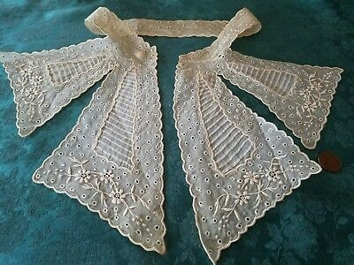 WoW VICTORIAN Embroidered antique collar trim lace vintage childs ladies ORGANDY