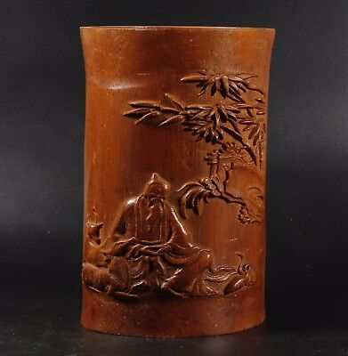 Chinese bamboo Carved bamboo Brush Pot height 17.2cm