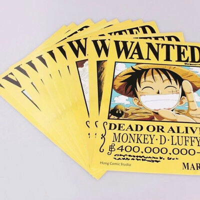 """11Pcs 8.3"""" x 5.7"""" One Piece Straw Hat Pirates+Shanks & Ace Wanted Anime Poster C"""