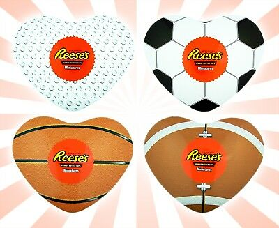 Reese's Peanut Butter Cup Miniatures in Sports Theme Heart Tin 12 Count