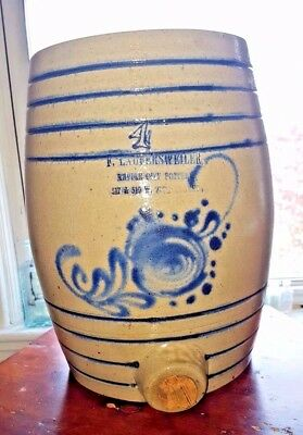 F. LAUFERSWEILER 4 EMPIRE CITY POTTERY WATER COOLER Blue Floral Decor, Bands