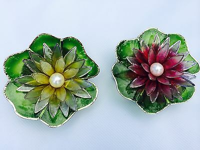 Capiz Floating Small Water Lily - Pearl - Yellow & Red