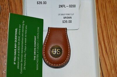 Orvis Us Cavalry Money Clip Leather List $39 New Made In Usa