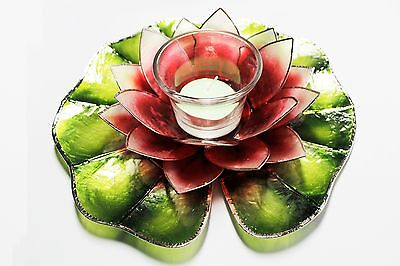 Capiz Floating Water Lily - Votive Candel - MacArthur Carmine Red