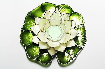 Capiz Floating Water Lily - Votive Candel - Capiz Linen White