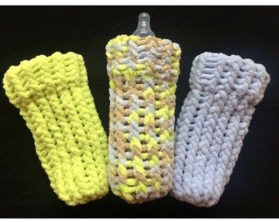 9 oz Baby Bottle Covers Hand Knit Set of Three Machine Washable Little Guy