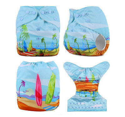 Modern Cloth Reusable Washable Baby Nappy Diaper & Insert, Beach and Surfboards