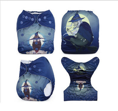 Modern Cloth Reusable Washable Baby Nappy Diaper & Insert, Witch and Moon
