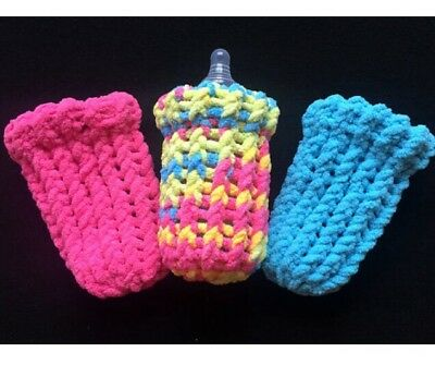 4 oz Baby Bottle Covers Hand Knit Set of Three Machine Washable Cotton Candy