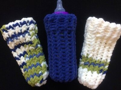 9 oz Baby Bottle Covers Hand Knit Set of Three Machine Washable Planet Earth