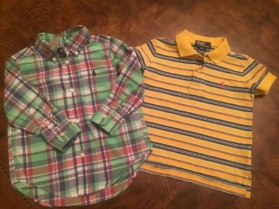 Lot of 2 Polo Ralph Lauren Toddler Boys Shirts Button Down And polo Size 2T !!